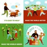 Concept de construction heureux de volontaires Images libres de droits