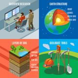 Concept de construction isométrique d'exploration de la terre illustration stock