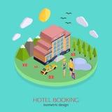 Concept de construction isométrique de la réservation d'hôtel 3d Photos stock