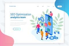 Concept de construction isométrique de page de Seo Optimization et de Team Modern Landing d'Analytics illustration stock