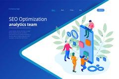 Concept de construction isométrique de page de Seo Optimization et de Team Modern Landing d'Analytics illustration libre de droits