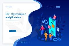 Concept de construction isométrique de page de Seo Optimization et de Team Modern Landing d'Analytics illustration de vecteur