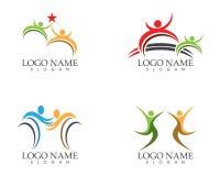 Concept de construction de logo de soin de personnes de santé illustration de vecteur