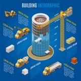 Concept de construction moderne isométrique d'Infographic illustration libre de droits