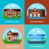 Concept de construction municipal de bâtiments Images libres de droits