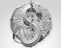 Concept de construction ornemental de dragon sur le fond gris Images stock