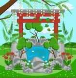 Concept de construction de paysage Illustration plate de vecteur illustration stock