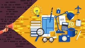 Concept de construction plat établissant le marketing numérique avec l'équipe de construction Le vecteur illustrent Photos stock