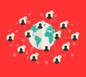 Concept de construction plat avec la carte du monde et le réseau social Photo libre de droits