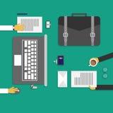 Concept de construction plat d'espace de travail créatif de bureau illustration stock