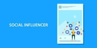 Concept de construction plat d'influencer social de médias, vente satisfaite illustration de vecteur
