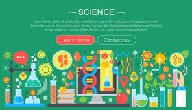 Concept de construction plat de la science Bannière horizontale avec le lieu de travail de laboratoire de scientifique Expérience illustration stock