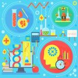 Concept de construction plat de la science et technologie Recherche scientifique, conception de l'avant-projet chimique d'infogra illustration libre de droits