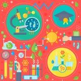 Concept de construction plat de la science et technologie Recherche scientifique, conception de l'avant-projet chimique d'infogra illustration stock