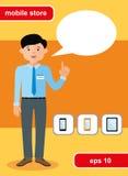 Concept de construction plat de magasin mobile Photographie stock libre de droits