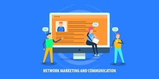 Concept de construction plat du marketing de réseau, relations de client, communication illustration stock