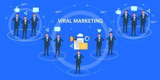 Concept de construction plat du marketing viral, milieu social, promotion satisfaite, communication, mise en réseau, partageant illustration de vecteur