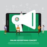Concept de construction plat faisant de la publicité le marketing numérique Gens de groupe Images libres de droits