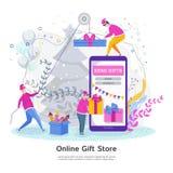 Concept de construction plat moderne de boutique de cadeaux en ligne illustration libre de droits