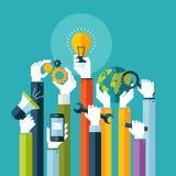Concept de construction plat pour des services en ligne Photos libres de droits