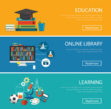 Concept de construction plat pour l'éducation, bibliothèque en ligne, apprenant illustration libre de droits
