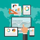 Concept de construction plat pour la planification des affaires et l'analytics Photo libre de droits