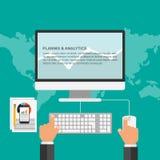 Concept de construction plat pour la planification des affaires et l'analytics Photos stock