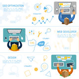 Concept de construction plat pour le marketing numérique illustration libre de droits