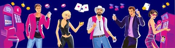 Concept de construction pour la chance de jeu et le jeu réussi Casino intérieur - machines à sous Femme chanceuse jouant dans des illustration stock