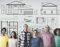 Concept de Construction Project Sketch d'architecte de modèle Photos libres de droits
