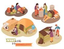 Concept de construction sans abri isométrique illustration stock