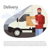 Concept de construction de vecteur avec l'illustration d'un homme barbu de messager d'un service de distribution de cargaison illustration de vecteur