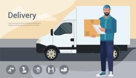 Concept de construction de vecteur avec l'illustration d'un homme barbu de messager d'un service de distribution de cargaison illustration libre de droits