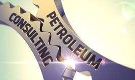 Concept de consultation de pétrole Roues dentées d'or 3d Photographie stock libre de droits