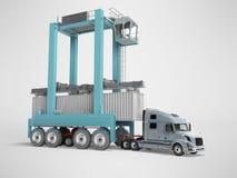 Concept de conteneur de cargaison de chargement avec la grue bleue sur le camion 3d rendre sur le fond gris avec l'ombre illustration libre de droits