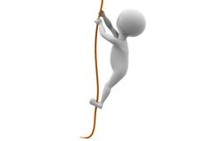concept de corde de montée de l'homme 3d Photos libres de droits