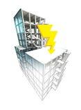 Concept de coup de foudre du finissage architectural de plan de bâtiment Photos stock