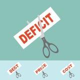 Concept de coupe - réduire le déficit, prix, coût, dette Photographie stock