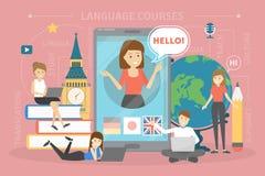 Concept de cours de langues Langues étrangères d'étude à l'école illustration stock
