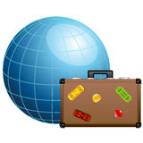Concept de course. Valise bleue de globe et de course. Photo stock