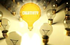 Concept de créativité avec les ampoules images stock