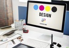 Concept de créativité de graphiques de conception d'encre de CMYK Photos stock