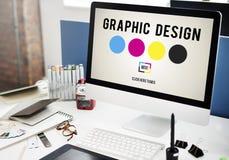 Concept de créativité de graphiques de conception d'encre de CMYK photo libre de droits