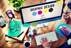 Concept de créativité de graphiques de conception d'encre de CMYK photos libres de droits