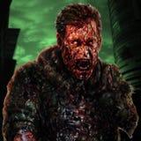 Concept de cri de soldat de zombi de danger Illustration de caractère de dessin illustration stock