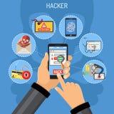 Concept de crime de Cyber avec le pirate informatique Image stock