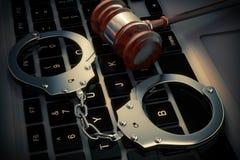 Concept de crime de Cyber Menottes et marteau de juge sur le calcul d'ordinateur portable Illustration de Vecteur