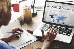 Concept de croissance de mise en réseau d'importation d'exportation d'affaires globales images stock