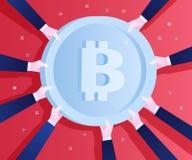 Concept de crypto devise Portée de mains pour le bitcoin Photos libres de droits