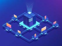 concept de cryptocurrency et de blockchain Ferme pour les bitcoins de extraction Illustration isométrique de vecteur illustration libre de droits
